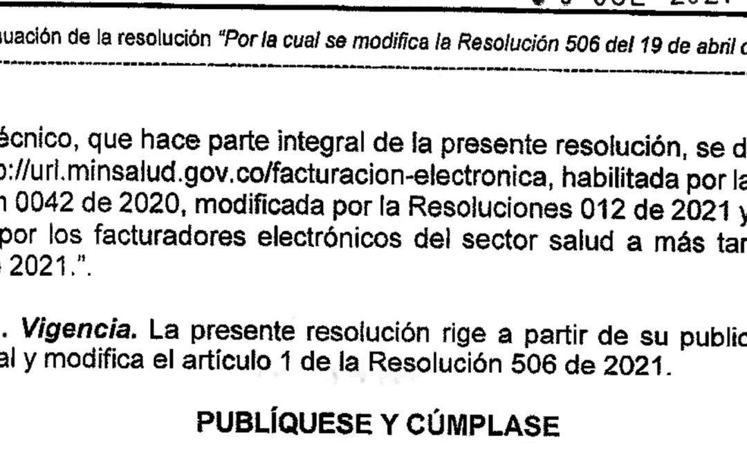 Resolución 1136 del 30 de Julio 2021 Facturación Electrónica Sector Salud