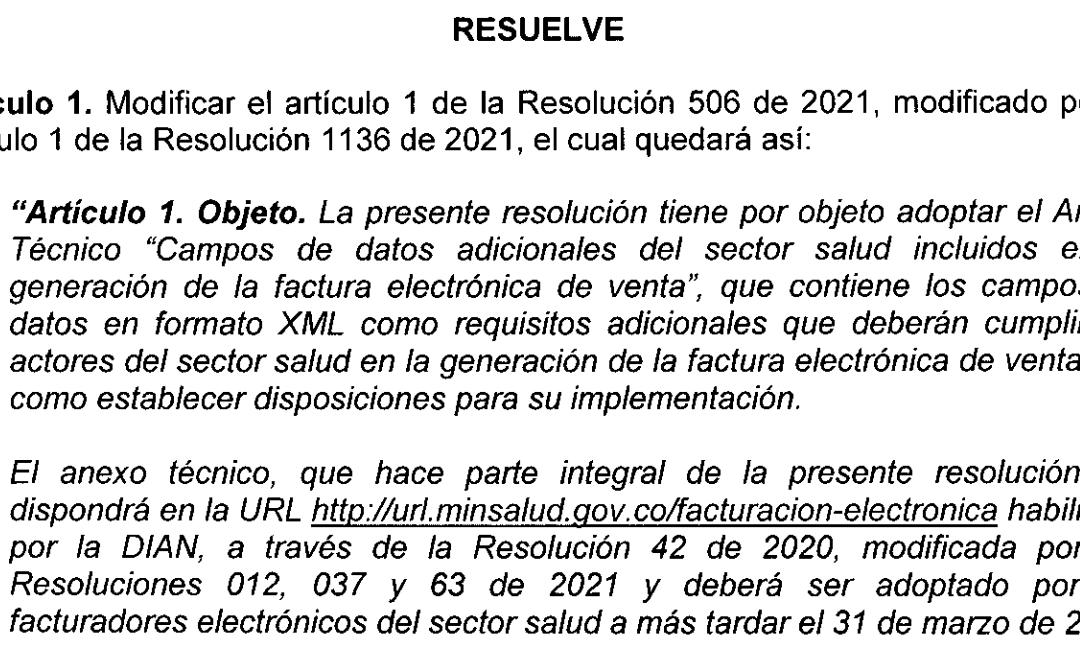Resolución 1526 del 29 de Septiembre 2021 Facturación Electrónica Sector Salud